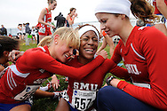 24 NOV 2008:  Ilyssa Pettigraw (557) of Southern Methodist University is surrounded by teammates following the 2008 NCAA Men and Women's Division I Cross Country Championship hosted by Indiana State University held at the Wabash Valley Family Sports Center in Terre Haute, IN. Pettigraw placed 218th while Sally Kipyego of Texas Tech University placed 1st with a time of 19:28.1 to win the women's national title, while the University of Washington won the women's team title. Brett Wilhelm/NCAA Photos