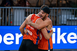 Ruben Penninga (1) of The Netherlands, Christiaan Varenhorst (2) of The Netherlands in action during CEV Continental Cup Final Day 1 - Women on June 23, 2021 in The Hague