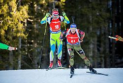 Klemen Bauer (SLO) and Erik Lesser (GER) competes during Men 12,5 km Pursuit at day 3 of IBU Biathlon World Cup 2015/16 Pokljuka, on December 19, 2015 in Rudno polje, Pokljuka, Slovenia. Photo by Vid Ponikvar / Sportida