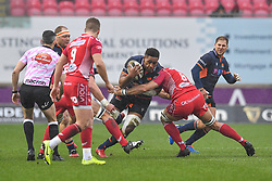 Viliame Mata of Edinburgh in action during todays match<br /> <br /> Photographer Craig Thomas/Replay Images<br /> <br /> Guinness PRO14 Round 11 - Scarlets v Edinburgh - Saturday 15th February 2020 - Parc y Scarlets - Llanelli<br /> <br /> World Copyright © Replay Images . All rights reserved. info@replayimages.co.uk - http://replayimages.co.uk