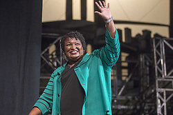 November 1, 2018 - Marietta, GA, USA - Georgia gubernatorial candidate Stacey Abrams waves goodbye to a crowd gathered for a town hall conversation with Oprah Winfrey on Thursday, Nov. 1, 2018 at the Cobb Civic Center's Jennie T. Anderson Theatre in Marietta, Ga. (Credit Image: © Alyssa Pointer/Atlanta Journal-Constitution/TNS via ZUMA Wire)