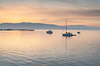 Boats on Bellingham Bay during twilight afterglow