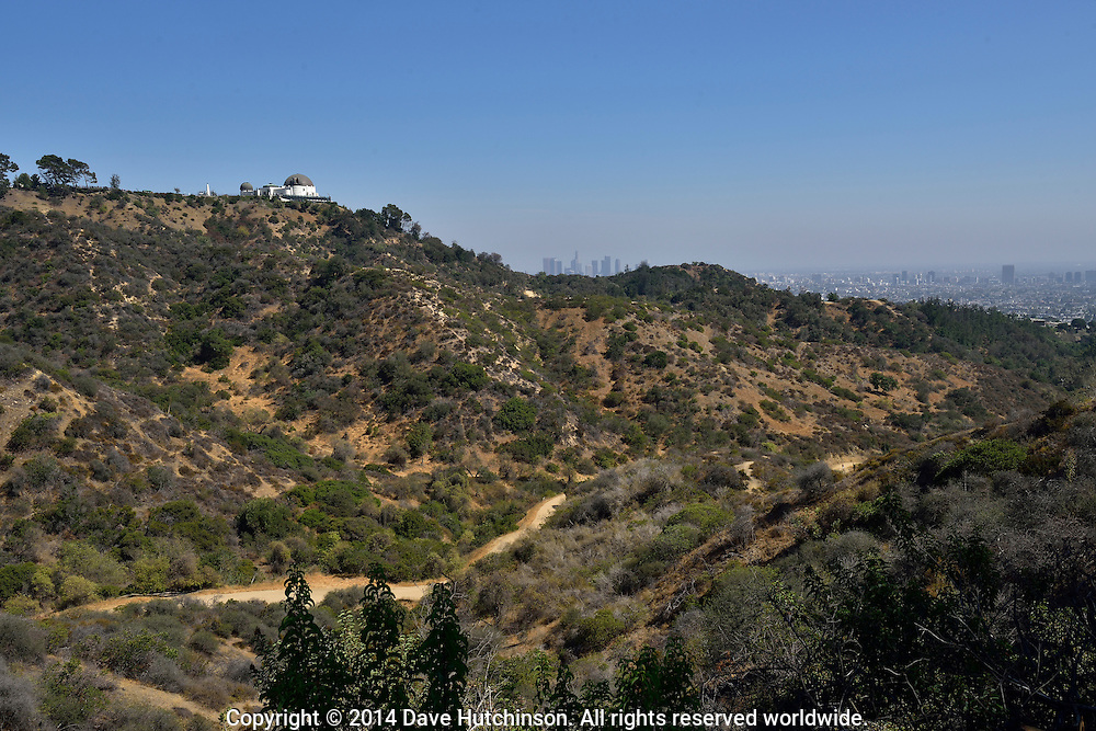View of Griffith Park Observatory and downtown Los Angeles, California, United States.