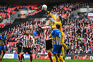 Dean Henderson of Shrewsbury Town (1) punches away the ball during the EFL Trophy Final match between Lincoln City and Shrewsbury Town at Wembley Stadium, London, England on 8 April 2018. Picture by Stephen Wright.