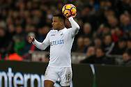 Martin Olsson of Swansea city in action.Premier league match, Swansea city v Southampton at the Liberty Stadium in Swansea, South Wales on Tuesday 31st January 2017.<br /> pic by  Andrew Orchard, Andrew Orchard sports photography.