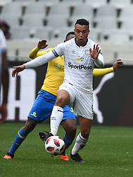 Cape Town-180825- Cape Town City player Matthew Rusike challenged by  Mamelodi Sundowns Lebohang Maboe in the MTN 8 semi-final at Cape Town Stadum.Photographer :Phando Jikelo/African News Agency/ANA