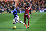 Middlesbrough midfielder Albert Adomah  fouls Everton defender Leighton Barnes  during the Capital One Cup match between Middlesbrough and Everton at the Riverside Stadium, Middlesbrough, England on 1 December 2015. Photo by Simon Davies.
