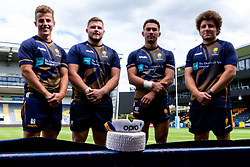 Billy Searle, Nick David, Lewis Holsey and Duncan Weir of Worcester Warriors Opro gum shield - Mandatory by-line: Robbie Stephenson/JMP - 24/08/2020 - RUGBY - Sixways Stadium - Worcester, England - Worcester Warriors Sponsors 2020/21