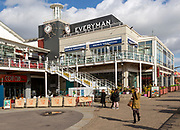Leisure buildings and restaurants Cardiff Bay redevelopment at Mermaid Quay,  Cardiff, South Wales, UK