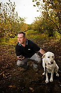 090530-Damon Boorman with truffle dog Errol at the Wine &Truffle company's Manjimup property today during the opening of the Truffle Season.Pix:Tony McDonough. ©copyright 2009  One Use Only. NO ARCHIVING Truffle in the south west of Western Australia near Mandjimup. Manjimup Truffles, Western Australia