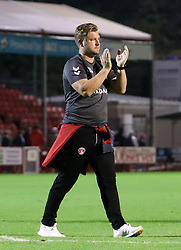 Charlton Athletic manager Karl Robinson celebrates after the final whistle