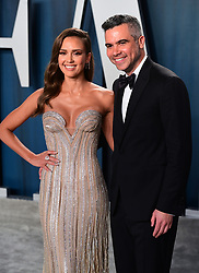 Jessica Alba and Cash Warren attending the Vanity Fair Oscar Party held at the Wallis Annenberg Center for the Performing Arts in Beverly Hills, Los Angeles, California, USA.