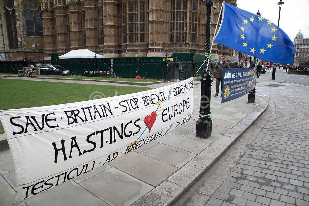 With one year to go until Brexit, anti-Brexit, pro-Europe banners in favour of staying in the European Union on 29th March 2018 in London, England, United Kingdom. As the Tories continue their negotiations with EU leaders, protesters make their views heard throughout the capital.