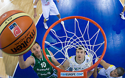 Bostjan Nachbar (10) of Slovenia and Ksistof Lavrinovic of Lithuania during the EuroBasket 2009 Group F match between Slovenia and Lithuania, on September 12, 2009 in Arena Lodz, Hala Sportowa, Lodz, Poland.  (Photo by Vid Ponikvar / Sportida)