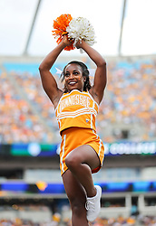 Sep 1, 2018; Charlotte, NC, USA; A Tennessee Volunteers cheerleader performs during the second quarter against the West Virginia Mountaineers at Bank of America Stadium. Mandatory Credit: Ben Queen-USA TODAY Sports