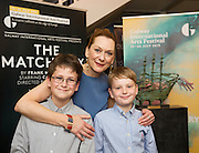 18/07/2015 repro free. Actor Cathy Belton with Nephews  Oisin and Ben Taylor at the World Premiere of The Match Box  a The Galway International Arts Festival production written by Frank MccGuinness and Director by Joan Sheehy and starring Cathy Belton at the Town Hall Theatre, Galway .  <br /> Photo:Andrew Downes:XPOSURE