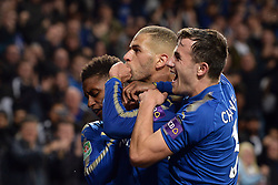 Leicester City's Islam Slimani (centre) celebrates his goal with Ben Chilwell
