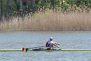 Brandenburg. GERMANY.<br /> BEL M1X. Hannes OBRENO,  2016 European Rowing Championships at the Regattastrecke Beetzsee<br /> <br /> Saturday  07/05/2016<br /> <br /> [Mandatory Credit; Peter SPURRIER/Intersport-images]