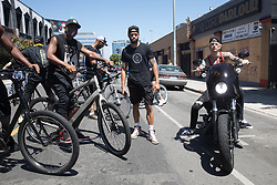 EXCLUSIVE: Machine Gun Kelly, Trey Songz, Terrell Owens and Danny Greene are all seen at the early bike run protest in Hollywood, CA. 07 Jun 2020 Pictured: Trey Songz and Machine Gun Kelly, Terrell Owens, and Danny Greene. Photo credit: 007 / MEGA TheMegaAgency.com +1 888 505 6342