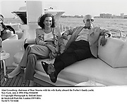Alan Greenberg, chairman of Bear Stearns with his wife Kathy aboard the Forbes's family yacht. New York. July 4 1993. Film 93266f20<br />