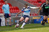 Featherstone Rovers stand off Martyn Ridyard (6) with a conversion during the Challenge Cup 2018 match between Doncaster and Featherstone Rovers at the Keepmoat Stadium, Doncaster, England on 22 April 2018. Picture by Simon Davies.