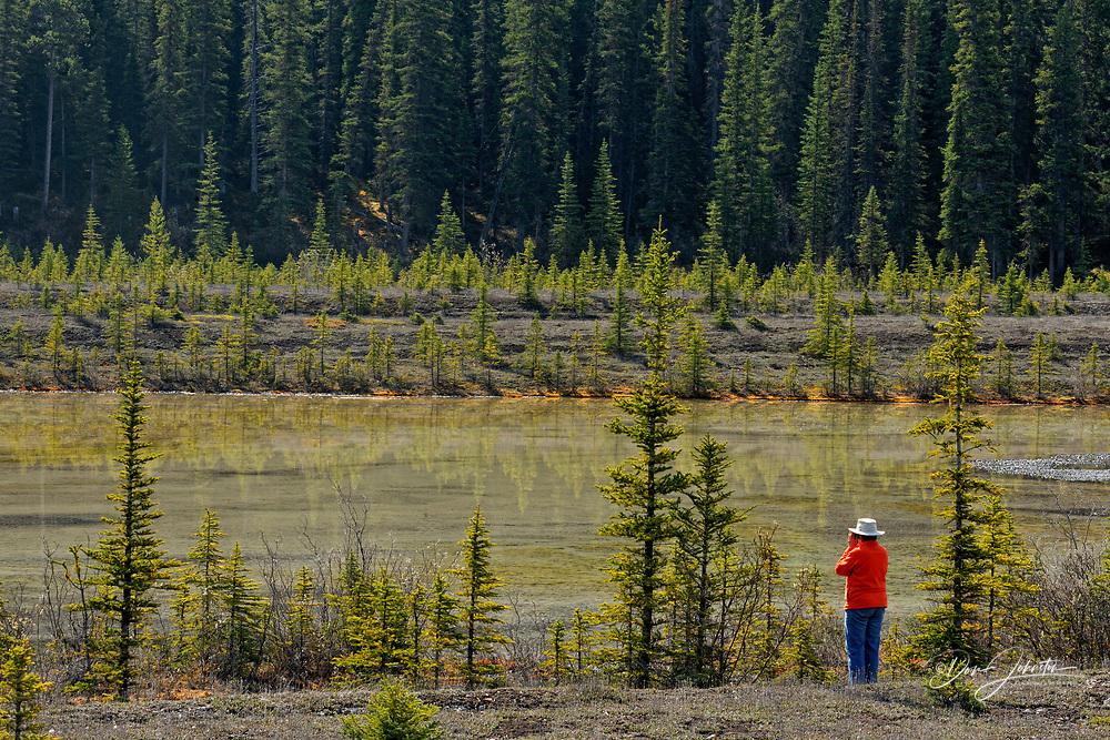 Tourist (Brenda) in the Sunwapta Valley, Jasper NP, Alberta, Canada