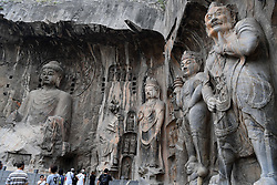 LUOYANG, Sept. 3, 2016 (Xinhua) -- Photo taken on Sept. 3, 2016 shows statues of Longmen Grottoes in Luoyang,  central China's Henan Province.  Longmen Grottoes has more than 2,300 grottoes with 110,000 Buddhist figures and images, over 80 dagobas and 2,800 inscribed tablets, created between the Northern Wei Dynasty (386-557) and Song Dynasty (960-1279).  (Xinhua/Zhu Xiang) (wx) (Credit Image: © Zhu Xiang/Xinhua via ZUMA Wire)
