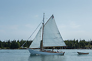 Fox Island Thorofare, ME - 11 August 2014. A cutter sailing through Fox Island Thorofare.