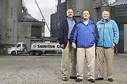 SHOT 10/29/18 9:47:39 AM - Sunrise Cooperative is a leading agricultural and energy cooperative based in Fremont, Ohio with members spanning from the Ohio River to Lake Erie. Sunrise is 100-percent farmer-owned and was formed through the merger of Trupointe Cooperative and Sunrise Cooperative on September 1, 2016. Photographed at the Clyde, Ohio grain elevator was George D. Secor President / CEO and John Lowry<br /> Chairman of the Board of Directors with  CoBank RM Gary Weidenborner. (Photo by Marc Piscotty © 2018)