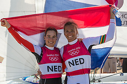 10.08.2012, Bucht von Weymouth, GBR, Olympia 2012, Segeln, im Bild BRONZE:.Westerhof Lisa, (NED, 470 Women). // during Sailing, at the 2012 Summer Olympics at Bay of Weymouth, United Kingdom on 2012/08/10. EXPA Pictures © 2012, PhotoCredit: EXPA/ Daniel Forster ***** ATTENTION for AUT, CRO, GER, FIN, NOR, NED, .POL, SLO and SWE ONLY!
