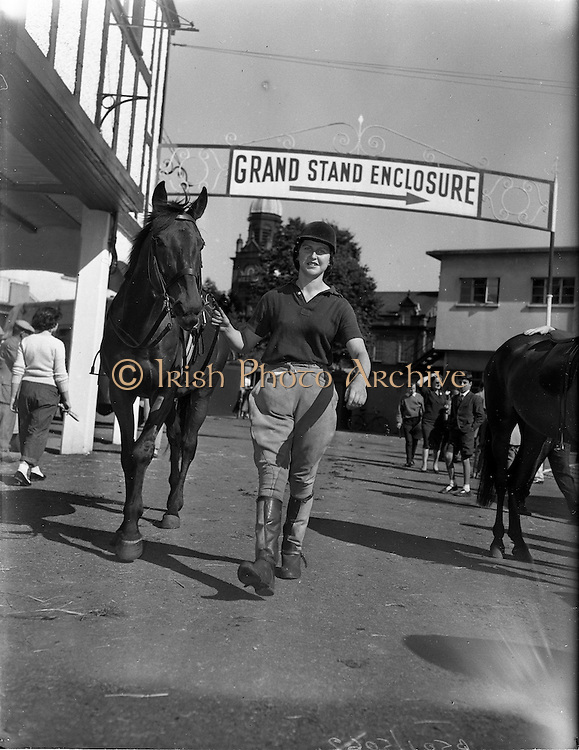 """01/08/1960<br /> 08/01/1960<br /> 01 August 1960<br /> R.D.S Horse Show Dublin (Monday). Miss Audrey Hamilton -Tarleton , of Roscrea, arriving at the Dublin Horse Show on Monday, with her horse """"Telagh"""" entered in the hack class at the show . The show opened the next day Tuesday the 2/8/1960."""