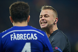 LONDON, ENGLAND - Wednesday, December 10, 2014: Norwegian referee Svein Oddvar Moen talks to Chelsea's Cesc Fabregas during the final UEFA Champions League Group G match against Sporting Clube de Portugal at Stamford Bridge. (Pic by David Rawcliffe/Propaganda)
