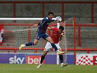Football - 2020 / 2021 Sky Bet League Two - Morecambe vs. Bradford City<br /> <br /> Oliver Crankshaw of Bradford City beats Stephen Hendrie of Morecambe, at the Mazuma Stadium.<br /> <br /> COLORSPORT/ALAN MARTIN