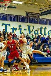 13 December 2019: Boys Basketball game between the Heyworth Hornets and the Tri Valley Vikings in Tri Valley High School, Downs IL<br /> <br /> 20