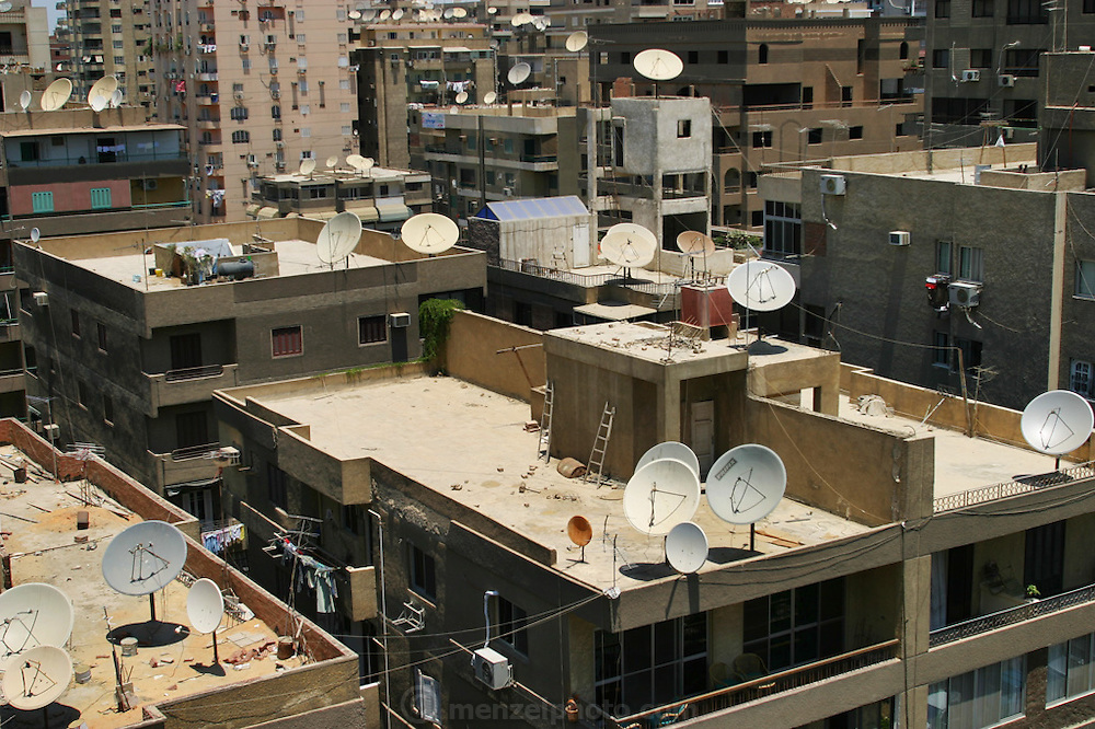 Rooftops in Cairo with satellite dishes, Egypt.