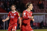GOAL 1-0 Crawley Town forward Tom Nichols (#16) scores from the penalty spot in stoppage time in the EFL Sky Bet League 2 match between Crawley Town and Walsall at The People's Pension Stadium, Crawley, England on 16 March 2021.