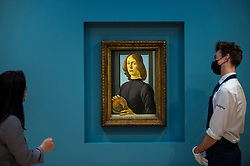 """© Licensed to London News Pictures. 02/12/2020. LONDON, UK.  """"Young Man Holding a Roundel"""", 1480, by Sandro Botticelli is displayed at Sotheby's New Bond Street gallery.  The work is the highlight of Sotheby's annual Masters Week sales series in New York taking place in January 2021 and is estimated to sell for in excess of US$80 million, which will establish it in art market history as one of the most significant portraits, of any period, ever to appear at auction.  Photo credit: Stephen Chung/LNP"""