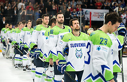 Jan Urbas of Slovenia, Matic Podlipnik of Slovenia, Sabahudin Kovacevic of Slovenia, Mitja Robar of Slovenia after the 2017 IIHF Men's World Championship group B Ice hockey match between National Teams of France and Slovenia, on May 15, 2017 in AccorHotels Arena in Paris, France. Photo by Vid Ponikvar / Sportida