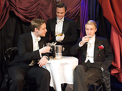Boy Meets Boy <br /> by Bill Solly and Donald Ward <br /> at The Jermyn Street Theatre, London, Great Britain<br /> Press photocall<br /> 22nd November 2012 <br /> <br /> Stephen Ashfield as Casey O'Brien<br /> Gregory Sims - waiter <br /> Craig Fletcher as Guy Rose<br /> <br /> <br /> Photograph by Elliott Franks