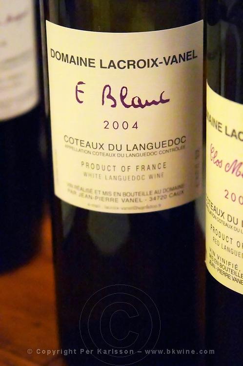 Cuvee E Blanc. Domaine Lacroix-Vanel. Caux. Pezenas region. Languedoc. France. Europe. Bottle.