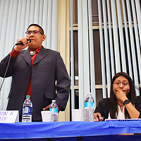 Zuni governor and lieutenant governor candidates, from left to right, Edward Wemytewa, Carleton Bowekaty, Audrey Simplicio and Val Panteah Sr. are seen in this photo at a candidate forum at the Zuni Headstart Wednesday night. The primary election is scheduled at the Puebloon Sunday.