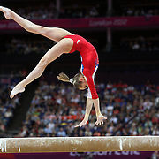 Victoria Komova, Russia, in action in the  Gymnastics Artistic Women's Apparatus, Beam final at North Greenwich Arena during the London 2012 Olympic games London, UK. 7th August 2012. Photo Tim Clayton