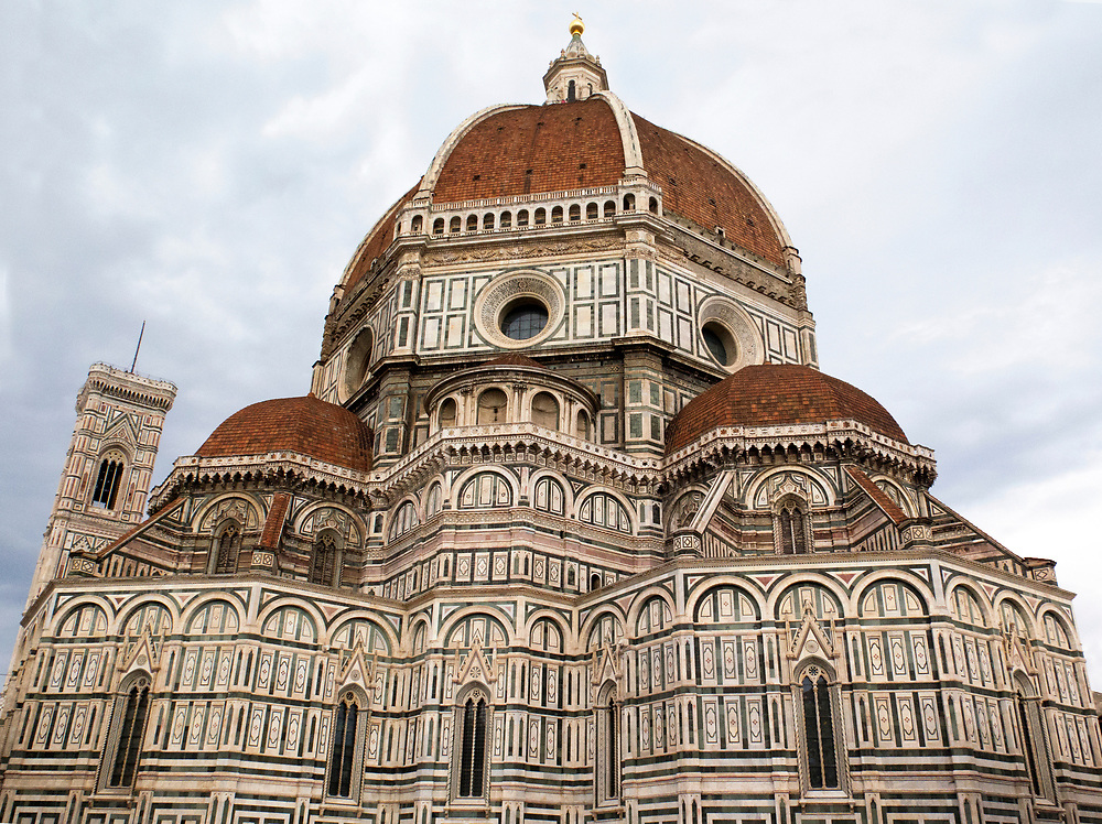 Santa Maria del Fiore Cathedral,<br /> The Duomo, a vast Gothic structure with a famous dome created by Filippo Brunelleschi
