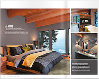 This relaxing bedroom features calm colors and a million-dollar view to the Pacific Ocean with big windows. Shot on assignment for Boulevard Magazine.