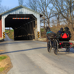 Paradise, PA, USA - December 6, 2015: An Amish buggy enters a covered bridge in Lancaster County, Pennsylvania.
