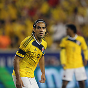 Radamel Falcao, Colombia, in action during the Colombia Vs Canada friendly international football match at Red Bull Arena, Harrison, New Jersey. USA. 14th October 2014. Photo Tim Clayton
