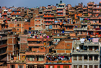 Laundry hangs from apartment balconies, Bhaktapur, Kathmandu Valley, Nepal.