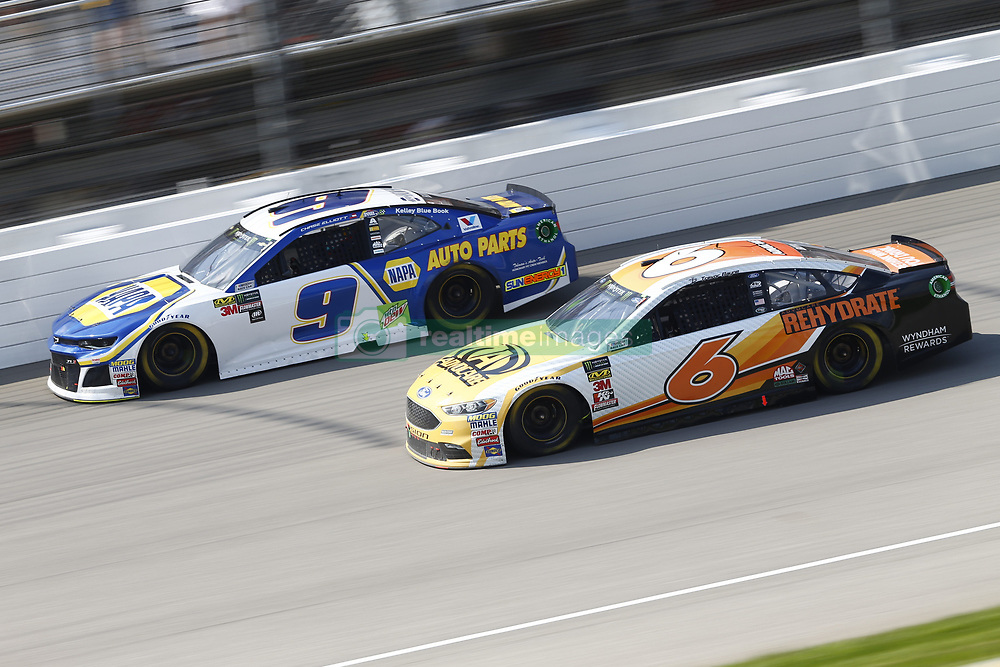 August 12, 2018 - Brooklyn, Michigan, United States of America - Chase Elliott (9) and Trevor Bayne (6) battle for position during the Consumers Energy 400 at Michigan International Speedway in Brooklyn, Michigan. (Credit Image: © Chris Owens Asp Inc/ASP via ZUMA Wire)