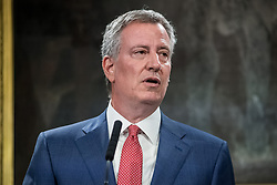 May 5, 2017 - New York, NY, United States - Mayor Bill de Blasio is seen during the press conference. New York City Mayor Bill de Blasio, joined by U.S. Congress members representing districts in New York City, held a press conference in the Blue Room at City Hall to announce a federal budget deal allowing for $68 million of reimbursements by the federal government for the City's  expenses in protecting Trump Tower and the Presidential First Family. (Credit Image: © Albin Lohr-Jones/Pacific Press via ZUMA Wire)
