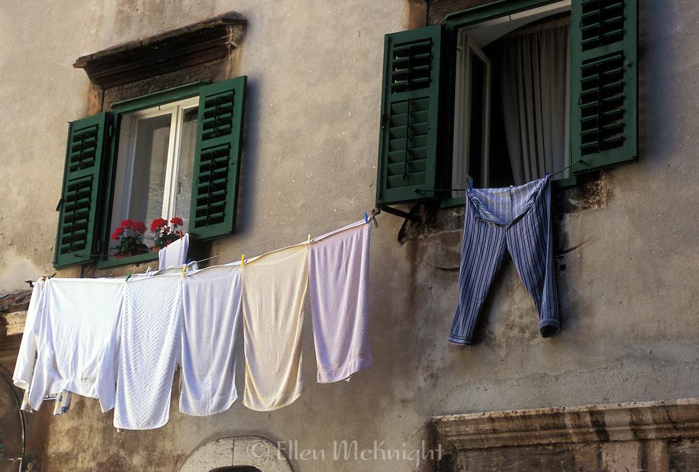 Laundry hanging in Sibenik, Croatia